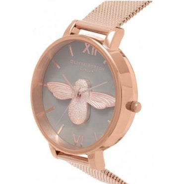 Rose Gold 3D Bee with Mesh Strap Watch