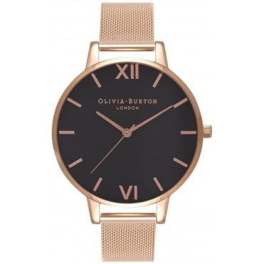 Black Dial And Rose Gold Mesh Watch