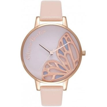 Embroidered Butterfly Nude Peach And Rose Gold Watch