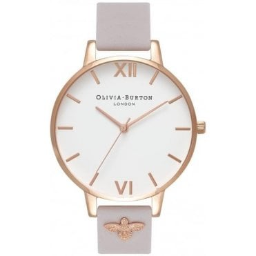3D Bee Embellished Strap Blush And Rose Gold Watch