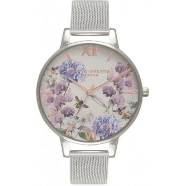 Parlour Bee Floral Silver Mesh Watch