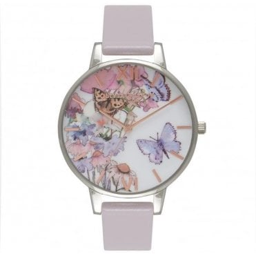 Painterly Prints Grey Lilac Silver And Rose Gold Watch