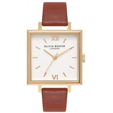 Square Dial Tan And Gold Watch