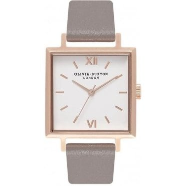 Square Dial London Grey And Rose Gold Watch