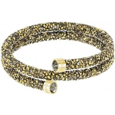 Crystaldust Double Bangle in Golden Brown and Gold Plate (M)
