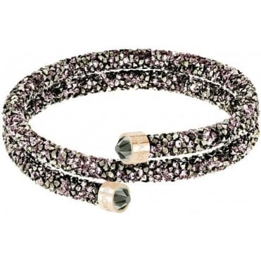Crystaldust Double Bangle in Violet and Rose Gold Plate (S)