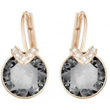 Bella 'V' Pierced Earrings in Rose Gold and Grey
