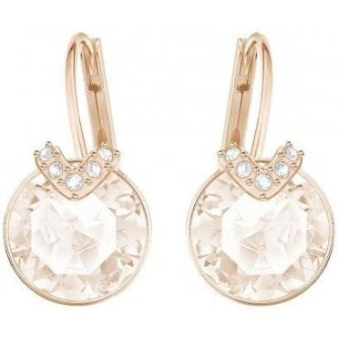 Bella 'V' Pierced Earrings in Rose Gold and Pink