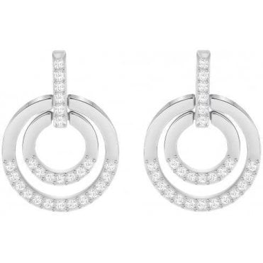 Silver Circle Medium Pierced Earrings in White