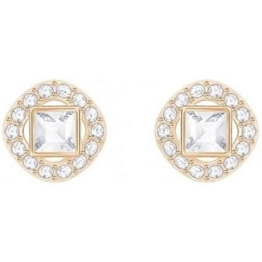 Angelic Diamond Square Pierced Earrings in Rose Gold