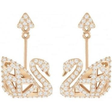 Facet Swan Pierced Earrings in Crystal and Rose Gold