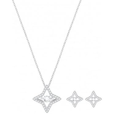 Sparkling Dance Small Star Set in Silver and White