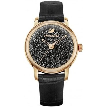 Crystalline Hours Watch in Black and Rose Gold