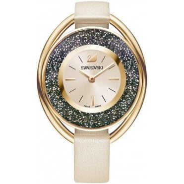 Crystalline Oval Watch in Beige and Pink