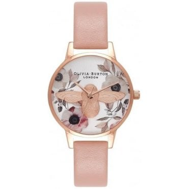 Midi Floral Bee Pink And Rose Gold Watch
