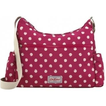 Mini Smudge Spot Foldaway Zipped Cross Body Bag in Cerise