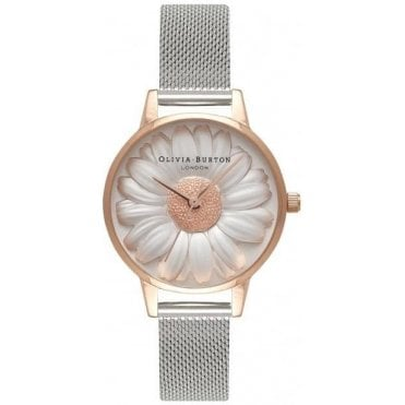 Moulded Daisy Rose Gold And Silver Mesh Watch