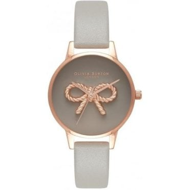 Vintage Bow Grey And Rose Gold Watch