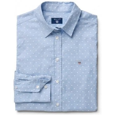 Women's Stretch Oxford Print Dot Shirt