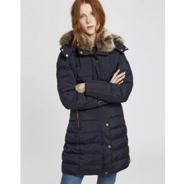Ladies Caldecott Coat With Fur Hood