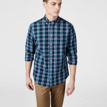 Men's Indigo Broadcloth Check Shirt