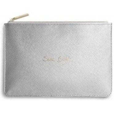 Shine Bright Perfect Pouch in Metallic Silver