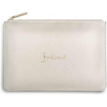 Bridesmaid Perfect Pouch in Metallic White