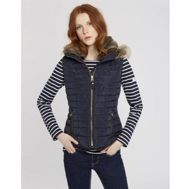 Ladies Melbury Gilet With Fur Hood Trim