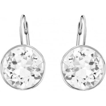 Bella Pierced Earrings, White, Rhodium Plating