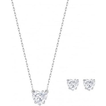 Attract Heart Set, White, Rhodium Plating