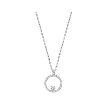Creativity Circle Pendant, White, Rhodium Plating