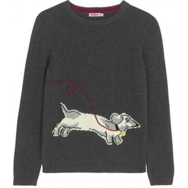 Dog Intarsia Jumper Mono Dog Placement S