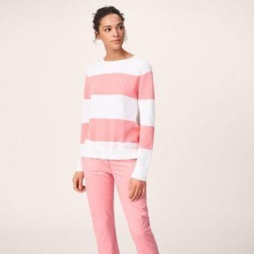 Women's Cotton Piqué Block Stripe Sweater