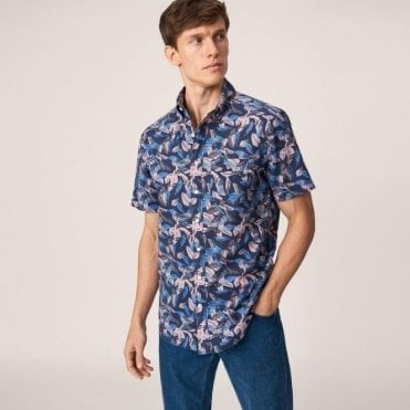 Men's Short Sleeved Airy Leaves Shirt