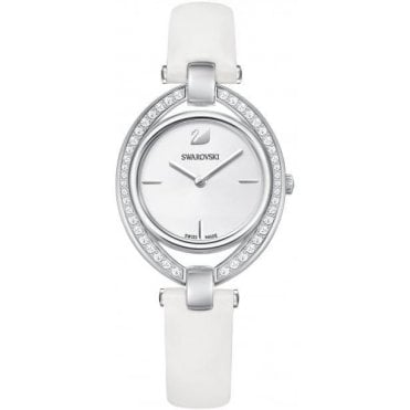 Stella Analogue Watch with Leather Strap, Clear Crystal and Rhodium Plate