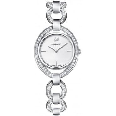 Stella Analogue Watch with Link Strap, Clear Crystal and Rhodium Plate