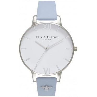 Embellished Strap Chalk Blue & Silver Watch