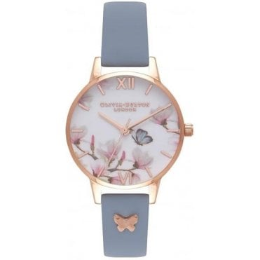 Pretty Blossom Chalk Blue & Rose Gold Watch