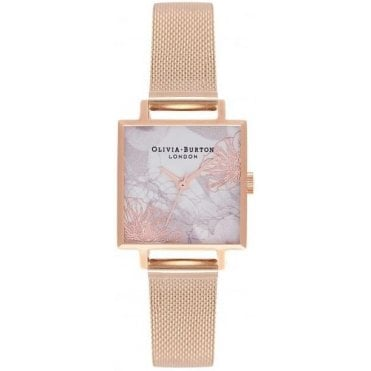 Square Midi Dial Abstract Florals Rose Gold Mesh Watch