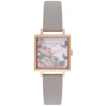 Square Midi Dial Signature Florals & Rose Gold Watch