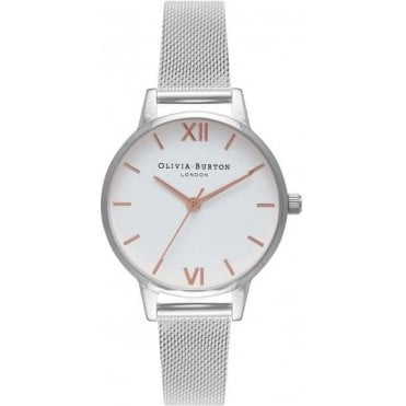 Midi Dial Rose Gold Silver Mesh Watch