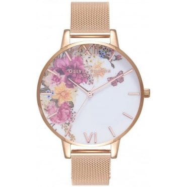 Enchanted Garden Rose Gold Mesh Watch