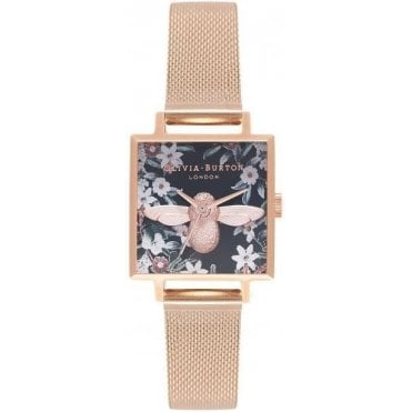 Square Dial Bejewelled Bee Watch