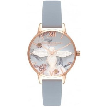 Midi Floral 3D Bee Silver and Rose Gold Watch
