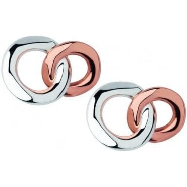20/20 Sterling Silver & 18kt Rose Gold Stud Earrings