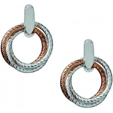 Aurora Cluster Sterling Silver and 18kt Rose Gold Vermeil Hoop Earrings 5040.2228