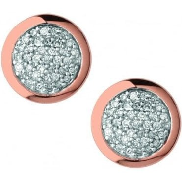 Diamond Essentials 18kt Rose Gold Vermeil & Pave Round Stud Earrings 5040.2409
