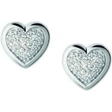 Diamond Essentials Sterling Silver & Pave Heart Stud Earrings 5040.2410