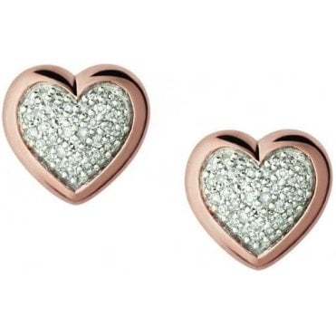 Diamond Essentials 18kt Rose Gold Vermeil & Pave Heart Stud Earrings 5040.2412