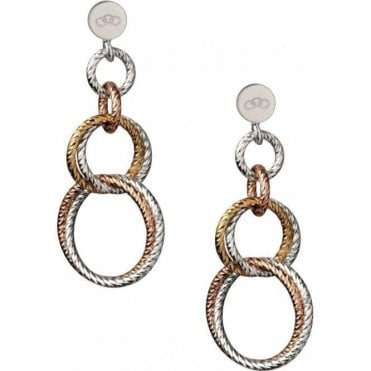 Aurora DoubleSterling Silver and 18kt Rose Gold Vermeil Link Earrings 5040.2226